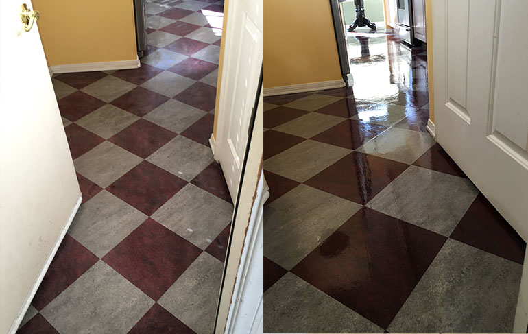 Marmoleum Floor Cleaning and Waxing Before & After