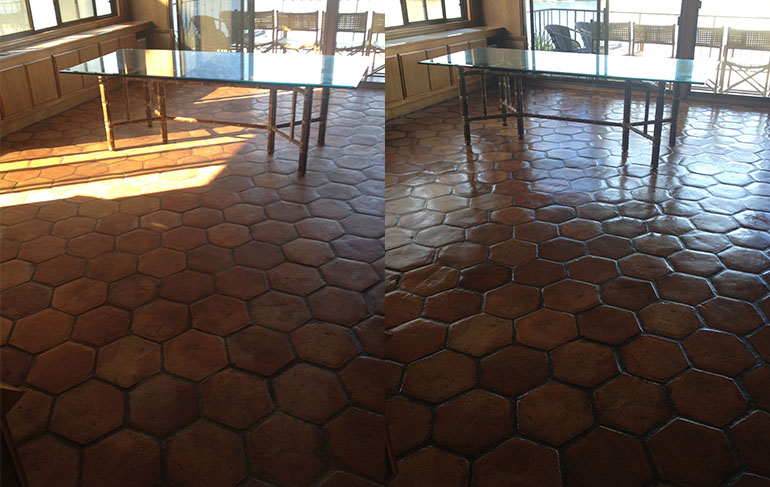 Spanish Tile & Grout Floor Cleaning and Waxing Before & After