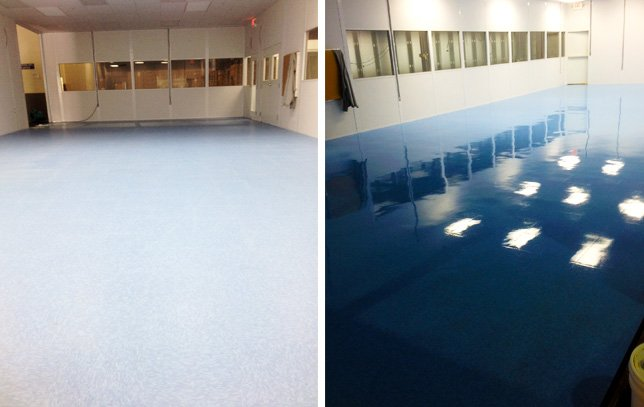 VCT Tile Floor Stripping and Re-Waxing Before & After