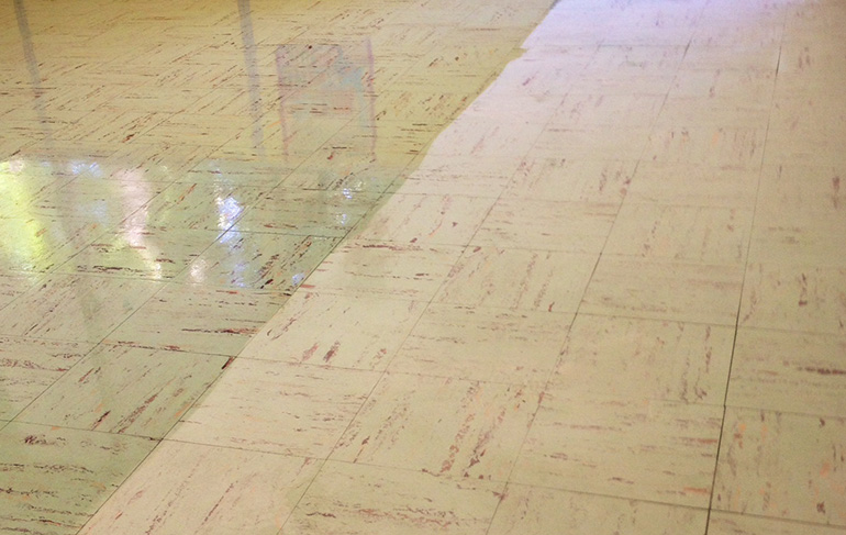 VCT Tile Floor Stripping Before & After