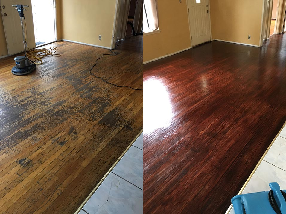 Hardwood Floor Refinishing Before & After